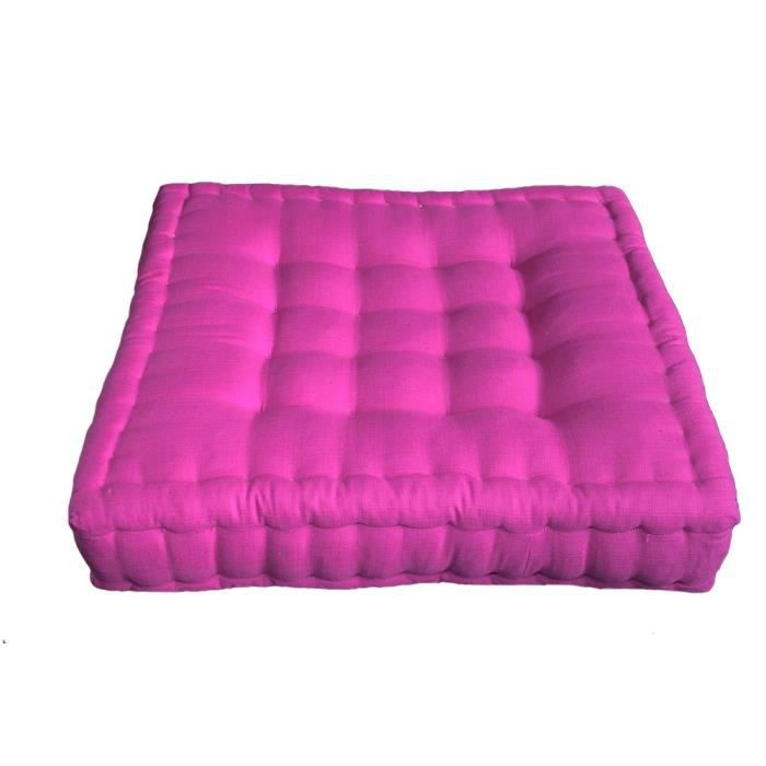 coussin de sol 46x46x12 cm kapok rose fuchsia prix pas cher cdiscount. Black Bedroom Furniture Sets. Home Design Ideas