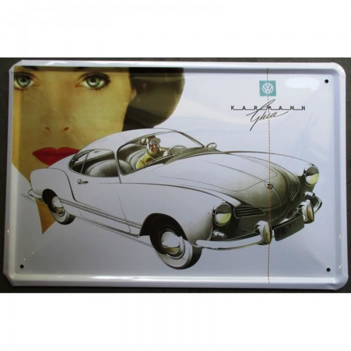 plaque vw karmann ghia blanche type 14 deco fan voiture achat vente objet d coration murale. Black Bedroom Furniture Sets. Home Design Ideas