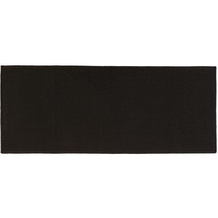 tapis uni 50 x 120 cm noir achat vente tapis. Black Bedroom Furniture Sets. Home Design Ideas