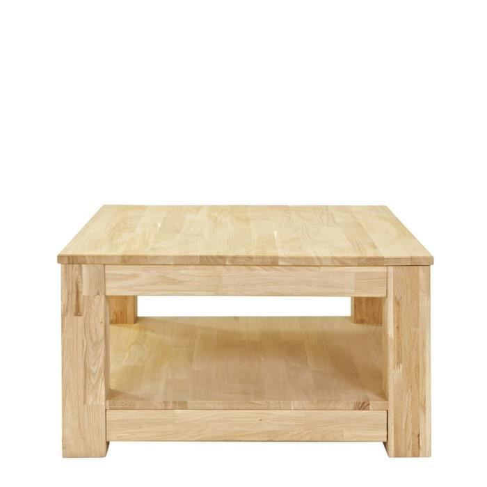 Table basse bois 70x70 carr e gerarda couleur ch ne - Table salon carree bois ...