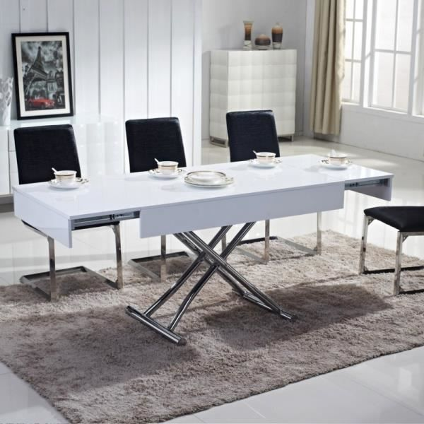 Table basse relevable ema laquee blanc achat vente - Table relevable design ...
