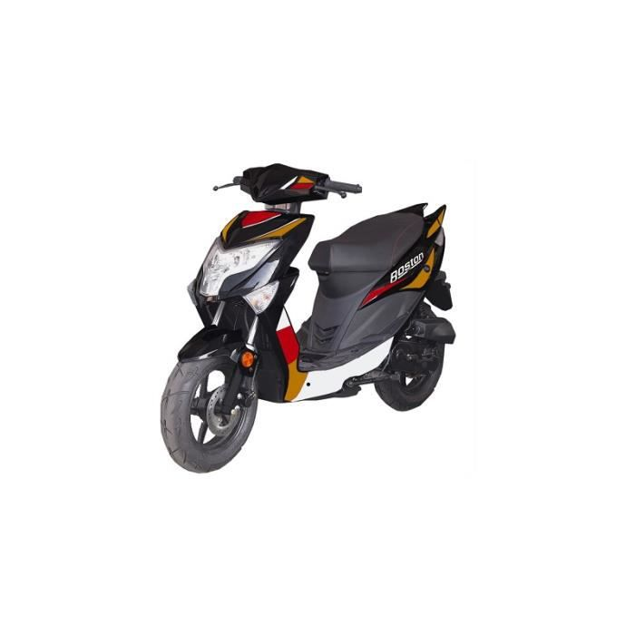 """SCOOTER Scooter boston 50cc 4 temps 10"""" - Noir/Rouge - ave"""