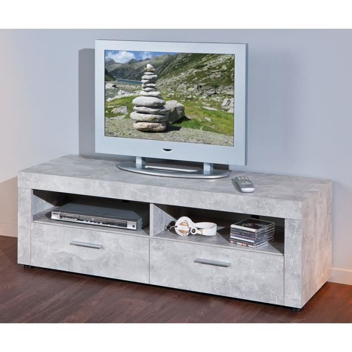 meuble tv 2 tiroirs beton 6 1 achat vente meuble tv. Black Bedroom Furniture Sets. Home Design Ideas