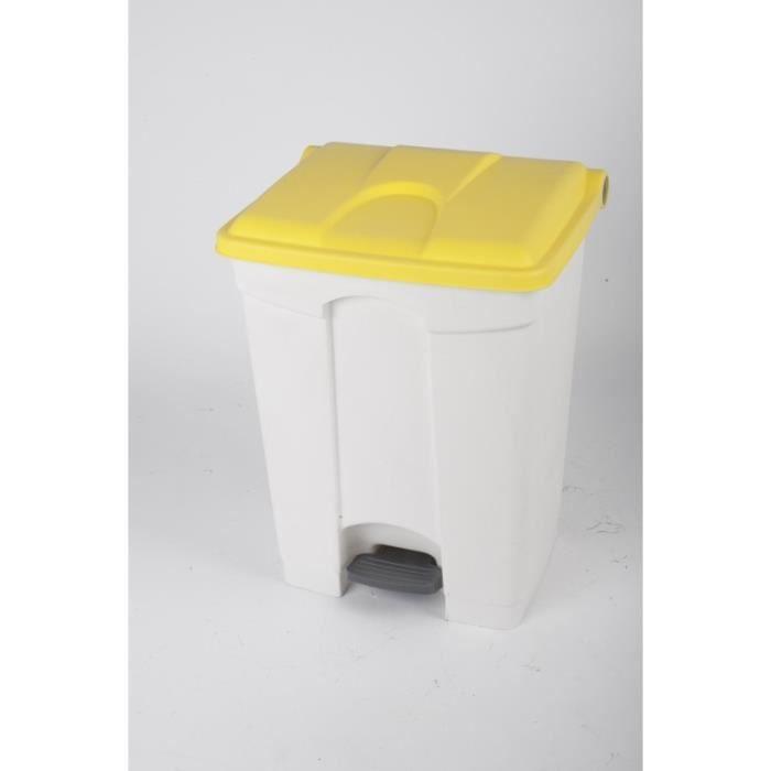 POUBELLE - CORBEILLE CONTAINER 70L blanc couvercle jaune