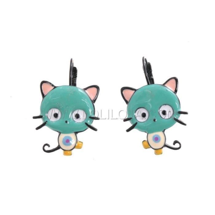 Boucles d oreilles BIJOUX LOL chat bleu rose Lolilota mode fun