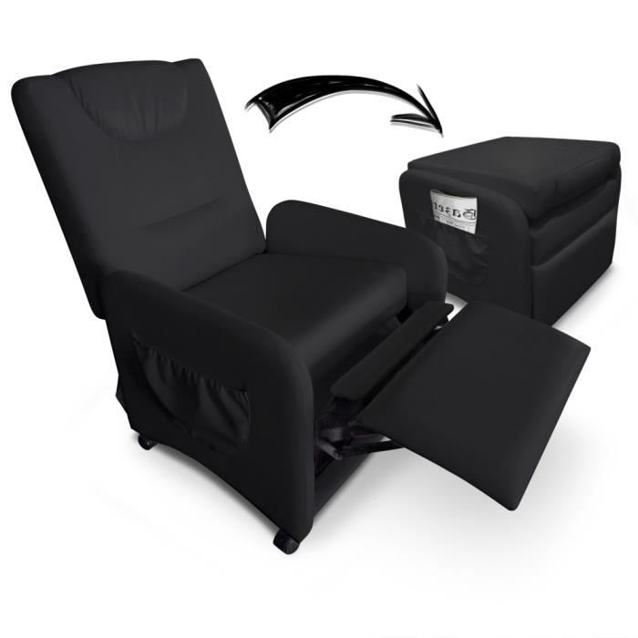 fauteuil relax pliable brio noir achat vente fauteuil cdiscount. Black Bedroom Furniture Sets. Home Design Ideas