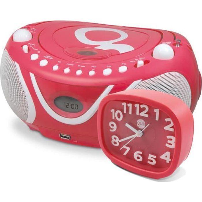 RADIO CD CASSETTE Ensemble Gulli rose radio CD-MP3 avec port USB et