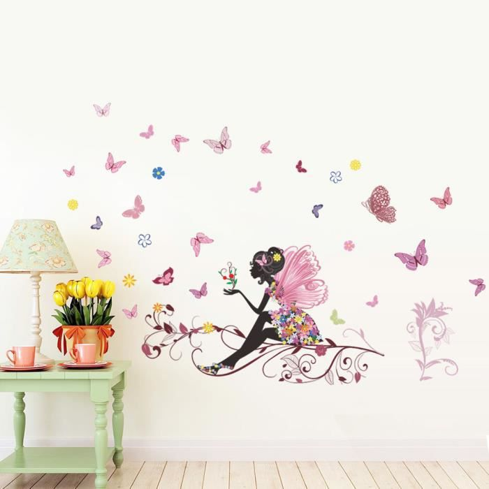 Autocollants Muraux Chambre à coucher pour enfants 3d Fleur Wall Art Stickers Licorne Rose Fée