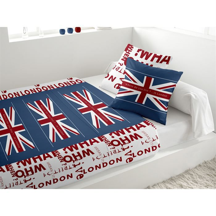 parure de lit union jack blanc achat vente parure de drap soldes cdiscount. Black Bedroom Furniture Sets. Home Design Ideas