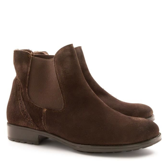 LEONARDO SHOES FEMME 2658MORO MARRON SUÈDE BOTTINES