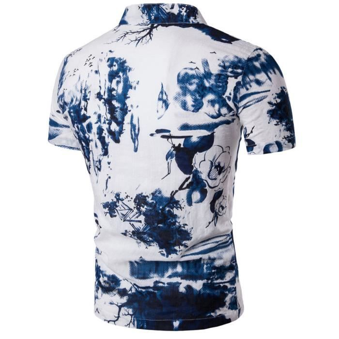 Homme Printing Retro Bohemia Men à Fashion manches blanc courtes Chemisier t7pUnxq0wq