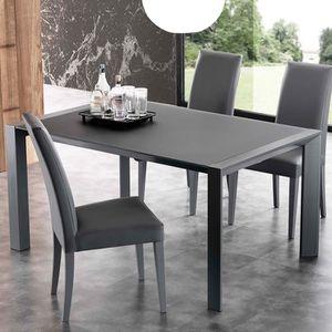 TABLE À MANGER SEULE Table en verre et en acier blanche extensible desi