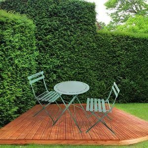 SALON DE JARDIN  Ensemble table + 2 chaises de jardin en métal vert