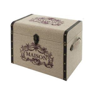 COFFRE - MALLE Coffre Malle Boîte de Rangement Bois Toile de Jute