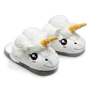 CHAUSSON - PANTOUFLE Chaussons pour adultes avec licorne en peluche, bl