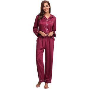 Aibrou Pyjama Femme Coton Ensemble de Pyjamas Nuit Manche Longue Col Rond pour Tout Les Saisons