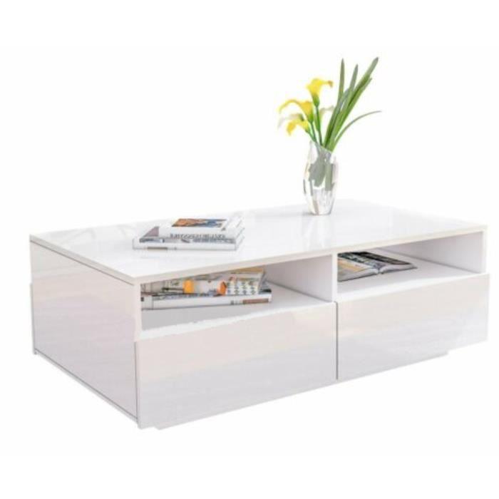 MEI TABLE BASSE Blanche Brillante à 4 Tiroirs Design Moderne pour Salon