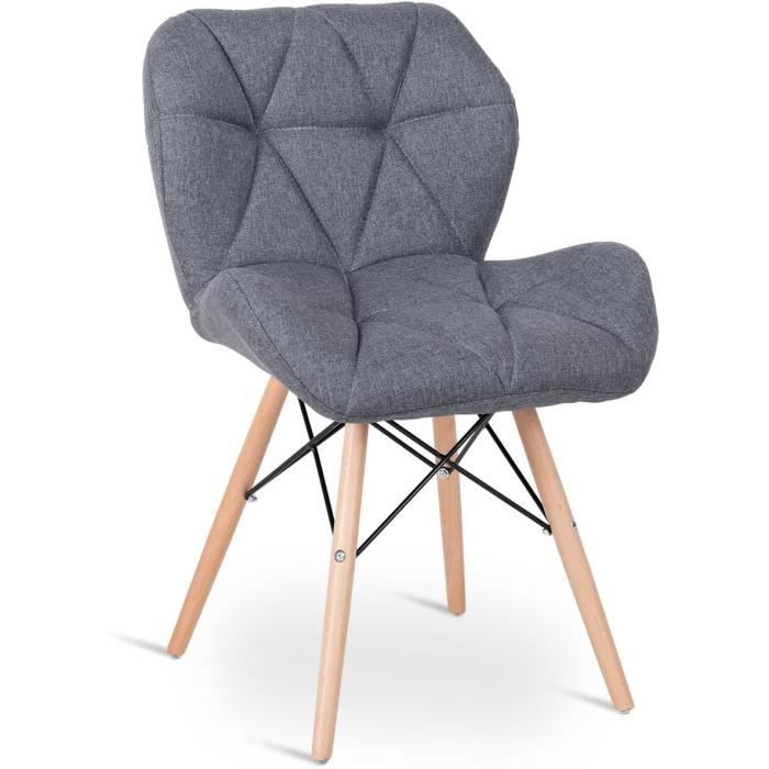 DREAMADE Lot de 2 Chaises Scandinaves Eames avec Pieds en Bois de Hêtre pour Salle à Manger,Salon,Bureau,Balcon,Chambre (Noir)