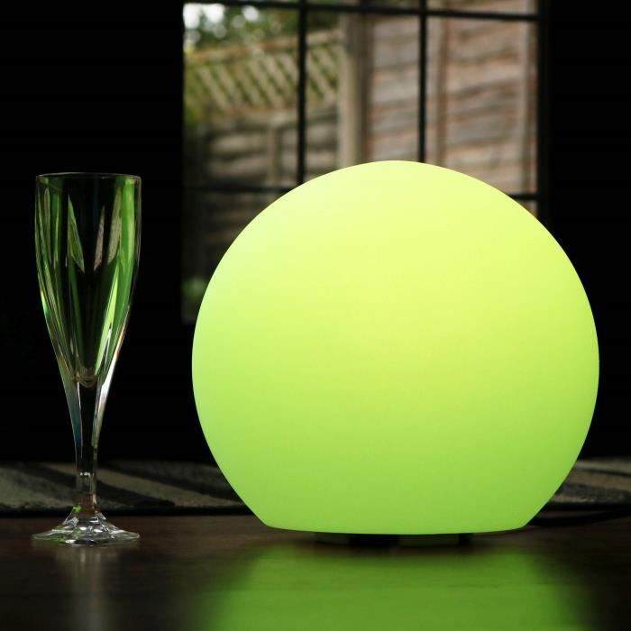 30cm Sphère Lumineuse LED, Lampe de Table Chevet Design Moderne Multicolore, Lumière Ambiance + Télécommande de PK Green