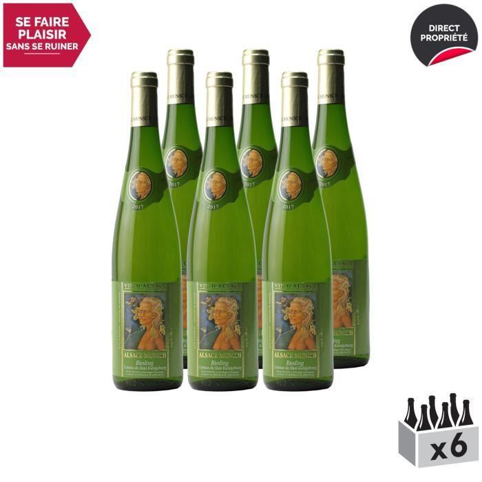 Alsace Riesling Côteaux du Haut Koenigsbourg Blanc 2017 - Lot de 6x75cl - Alsace Munsch - Vin AOC Blanc d' Alsace - Cépage Riesling