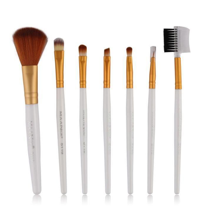 7pcs Maquillage Brosses cosmétiques fard à paupières Ombre à paupières Fondation mélange Pinceau blanc