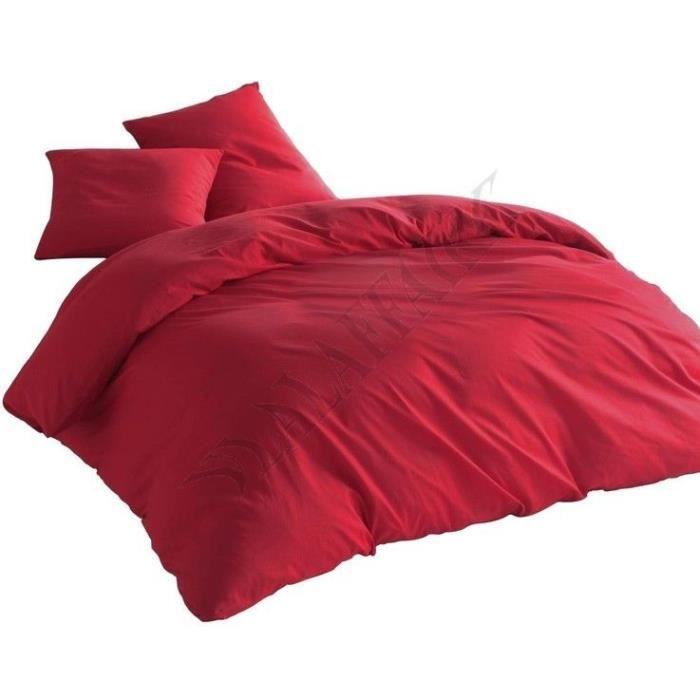 Parure de lit Housse de couette Rouge Uni - 220x240cm
