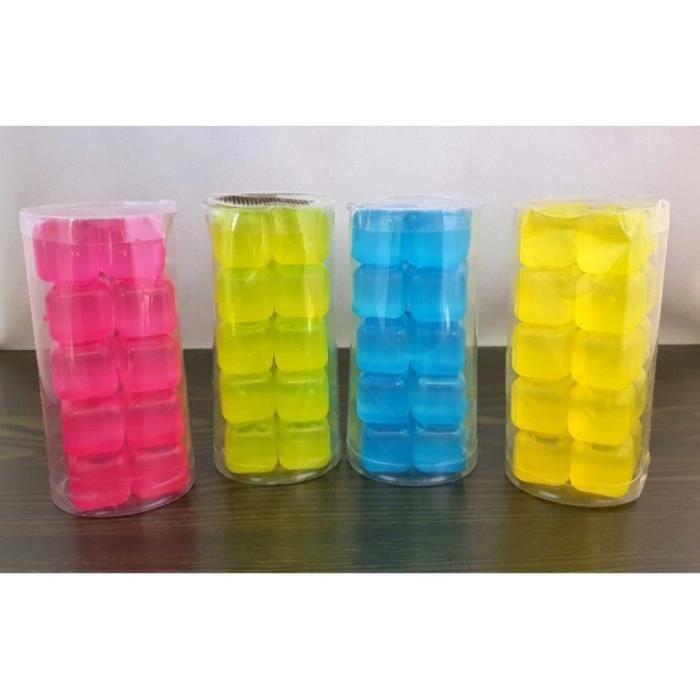 10 Glaçons en Plastique Réutilisables Cubes Pré-remplis 2,5 x 2,5 cm