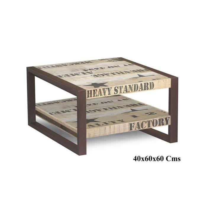 Table basse industrielle 60x60cm - Bois massif de manguier brut - Fer et bois imprimé - FACTORY #125
