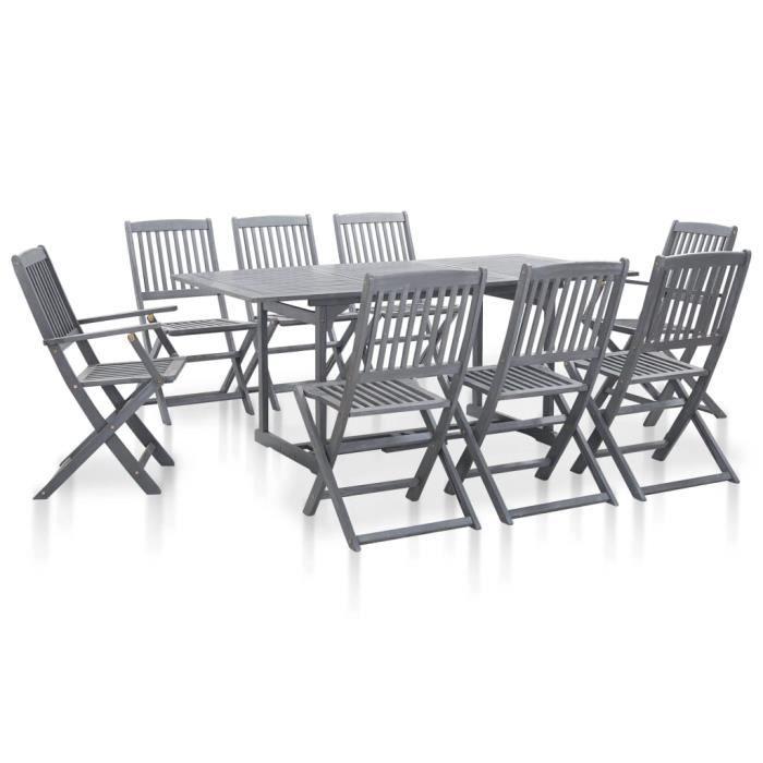 ENSEMBLE TABLE CHAISE FAUTEUIL DE JARDIN-Salon de jardin 9 pcs-Mobilier de jardin modern Bois d'acacia massif Gris