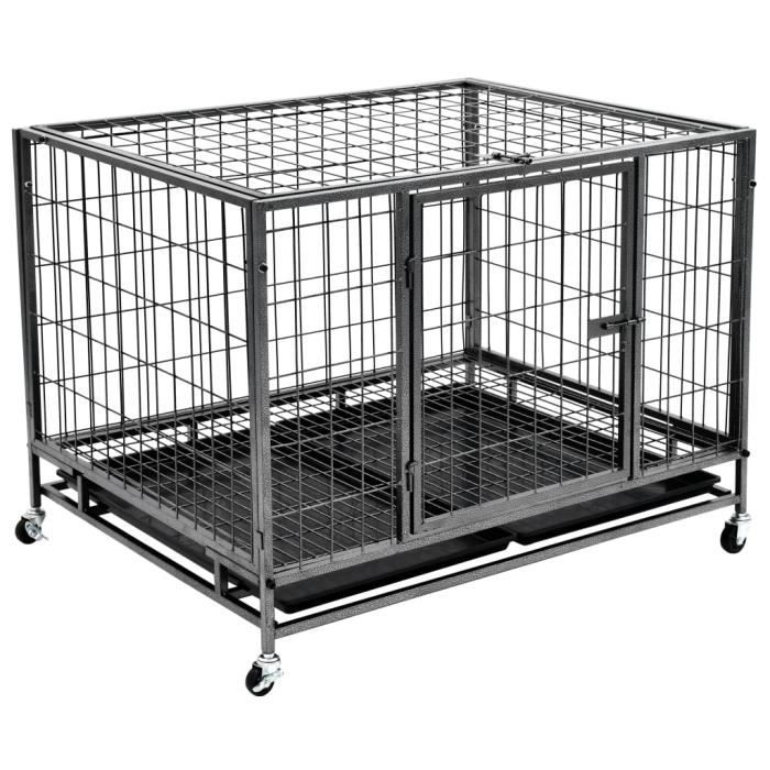 Cage robuste avec roues pour chiens Acier 98x77x72 cm