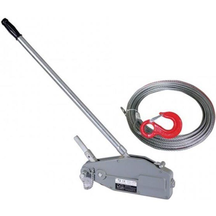 Tire-fort, tire-câble manuel, treuil de halage à levier 800Kg + câble 20 mètres ø8.3mm