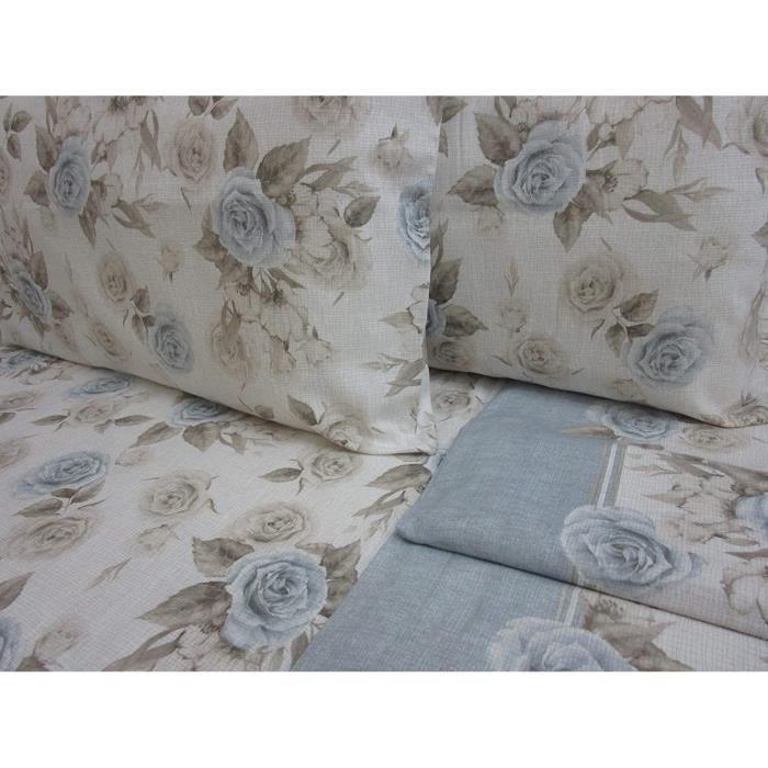 TAIE OREILLER Parure de lit double en flanelle de pur coton drap plat 240 x 280 cm Drap housse 180 x 200 cm 2 taies drsquooreill93