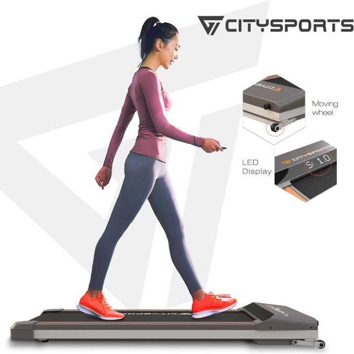 CITYSPORTS Tapis de Course, Fitness Bureau/Domicile, Tapis de Marche Electrique 1-6 km/h, Facile à Déplacer et à Ranger