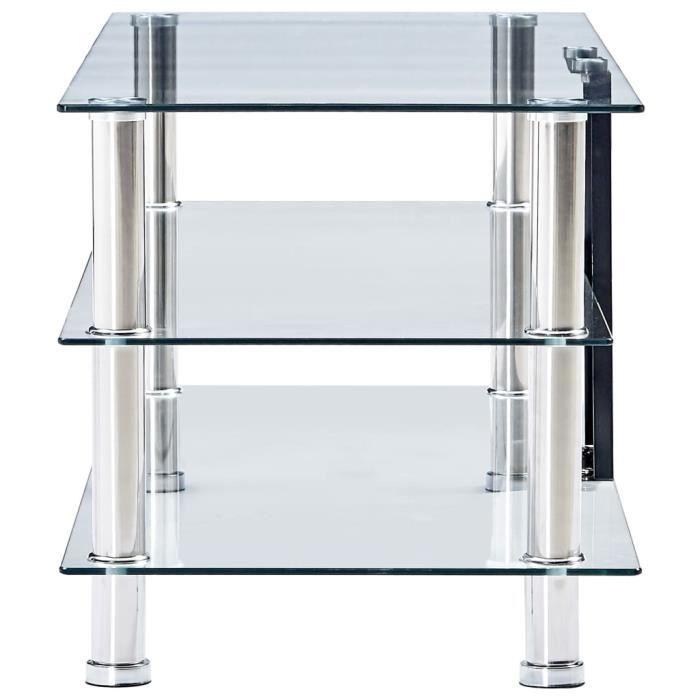 814408 - Design Furniture - Meuble TV Contemporain - Meuble HI-FI Banc TV Transparent 90 x 40 x 40 cm Verre trempé