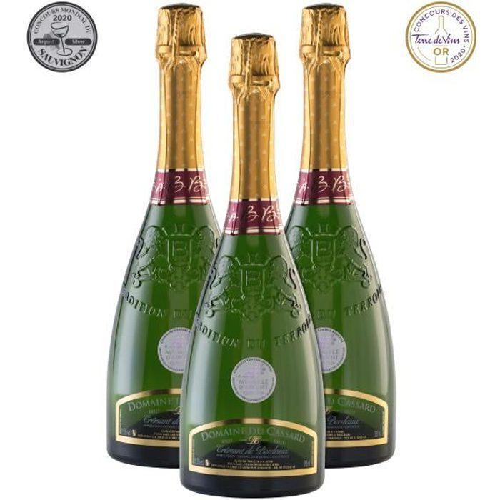 Lot de 3 bouteilles Crémant de Bordeaux Blanc Brut Domaine du Cassard- Médaille d'or au concours Terre de Vin