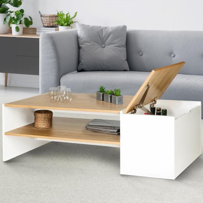 Table basse bar bois et blanc IZIA contemporaine avec coffre