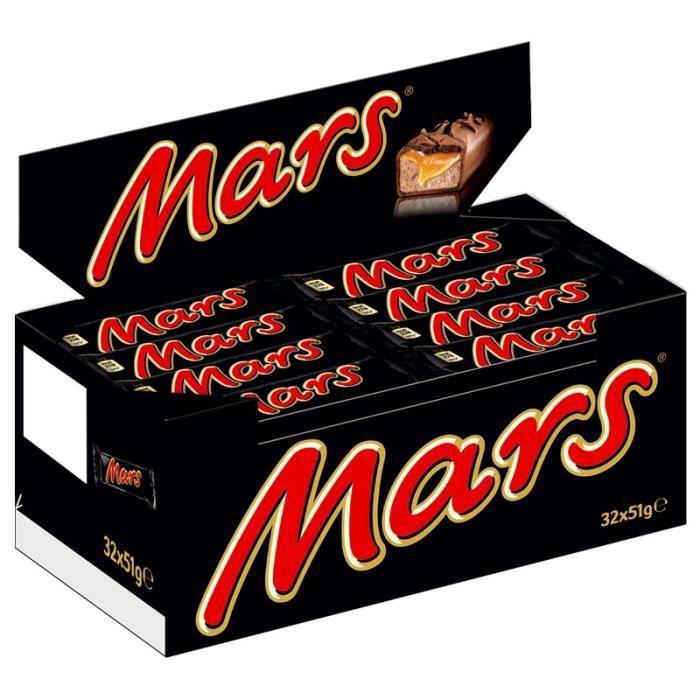 Mars, Barres chocolat, 32 barres de 51g