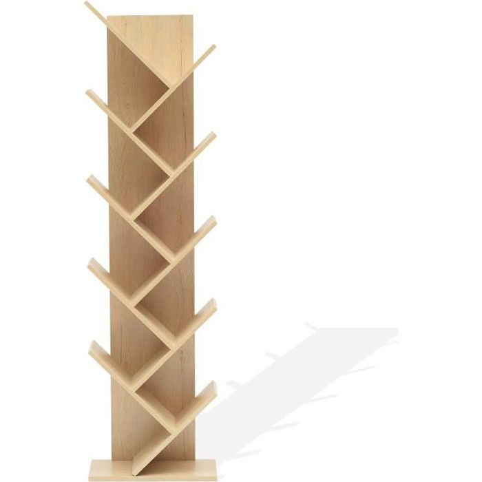 Mobili Rebecca Etageres Bibliotheque Bois Brun Clair Design 160x44,5x22