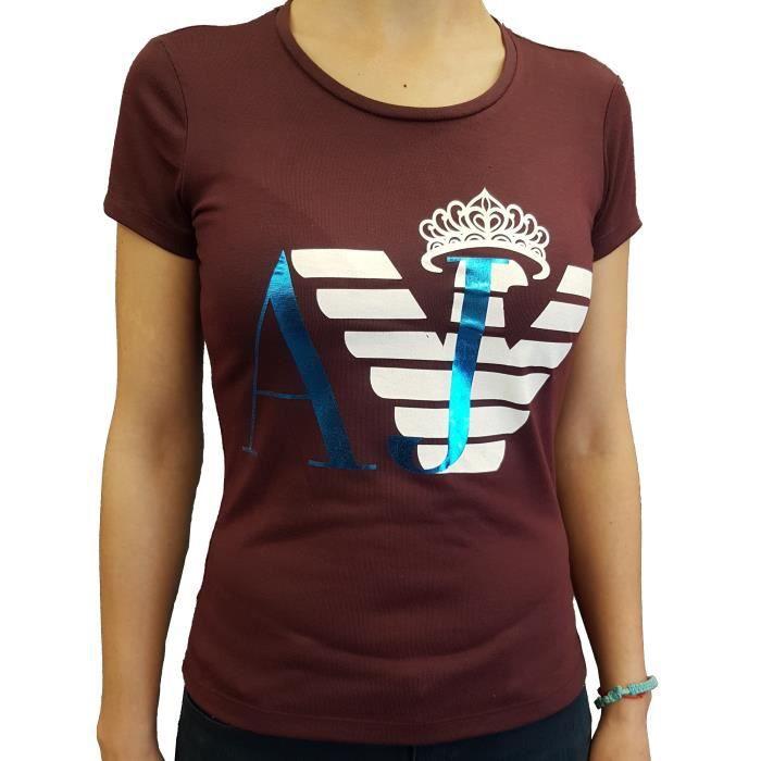 T-Shirt Armani Jeans manches courtes bordeaux pour femmes.
