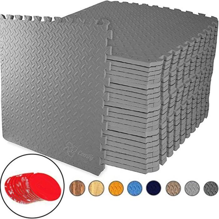 Tapis de Sol de Gym Sport 24 dalles en mousse EVA 30,5 cm x 30,5 cm gris