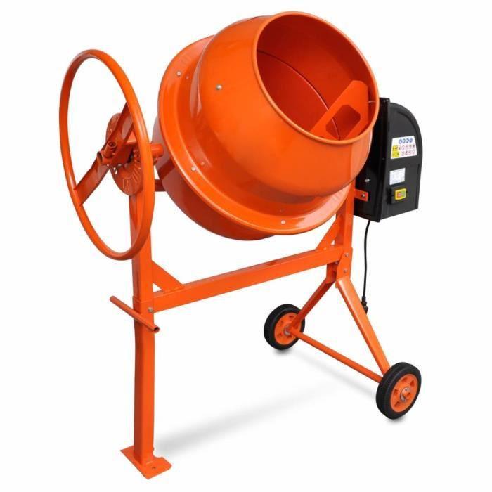 Bétonnière mixer cement Bétonnière électrique 140 L 650 W Acier Orange