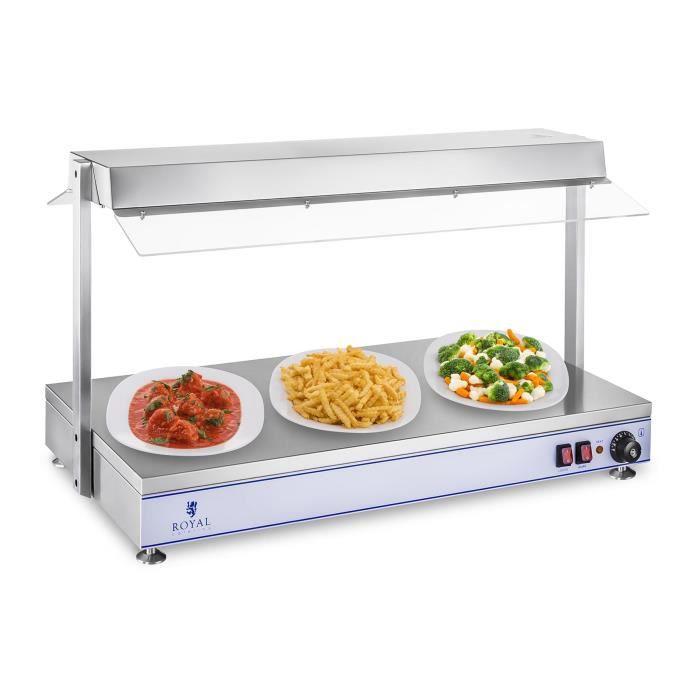 Chauffe-plats Royal Catering RCHP-100H (1550W température 0–110dc inox et plexiglas 3 Lampes halogènes chauffantes au dessus)