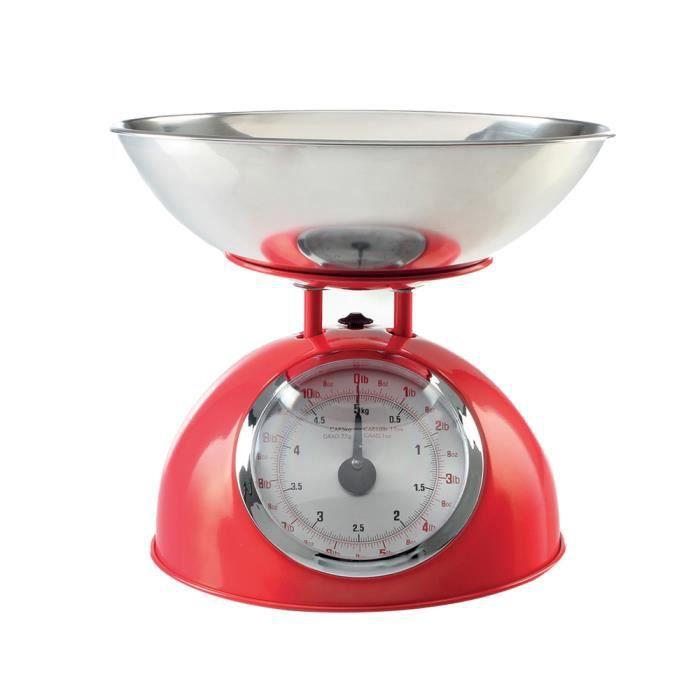 Balance de cuisine rétro rouge 5kg Autres Rouge