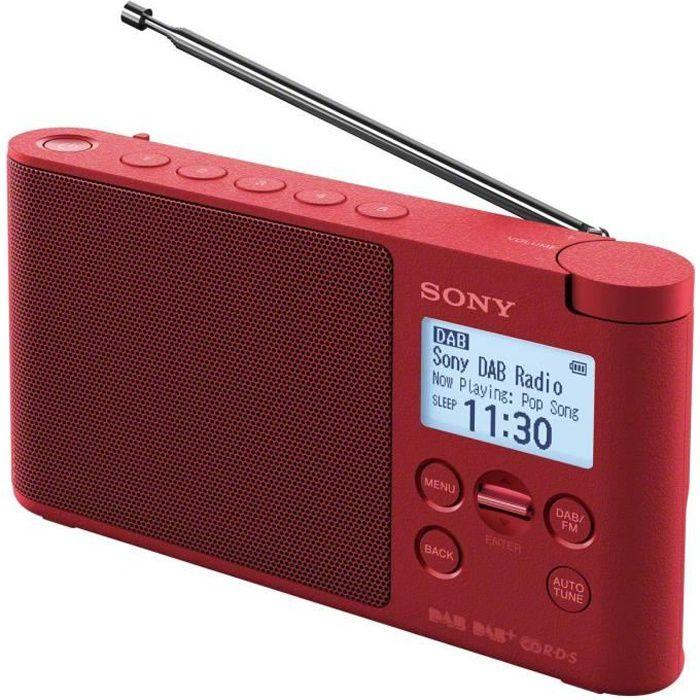 SONY - XDRS41DR - Radio portable DAB/DAB+ - Préréglages directs - Réveil et mise en veille programmable - Rouge
