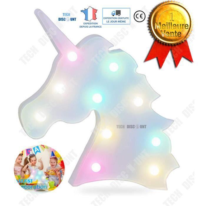 TEC™ Lampe de chevet licorne led électrique chambre fille enfant rose bureau décoration maison anniversaire fête muticouleur