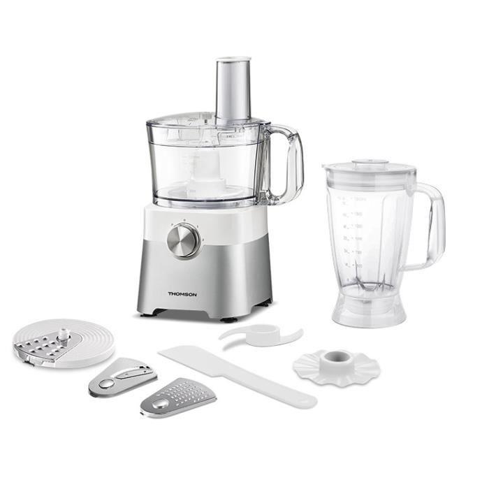 THOMSON THFP9275 - Robot Culinaire Multifonction avec Blender 1.8 L - Capacité du Bol 2 L - Puissance 750 W