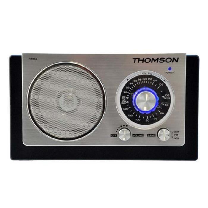 Thomson RT602 Radio Rétro FM/MW Boitier en bois Noir/argent