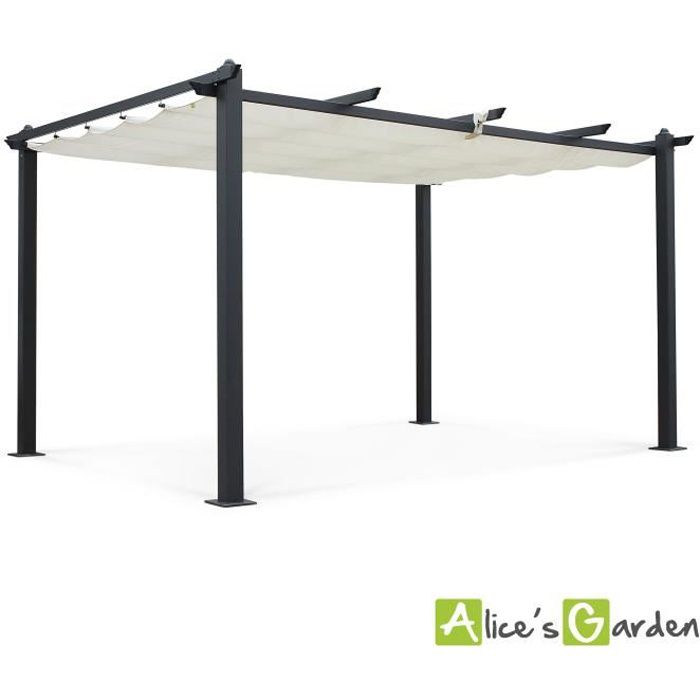 tente de jardin pergola aluminium 3x4m condate cru toile r tractable toile coulissante. Black Bedroom Furniture Sets. Home Design Ideas