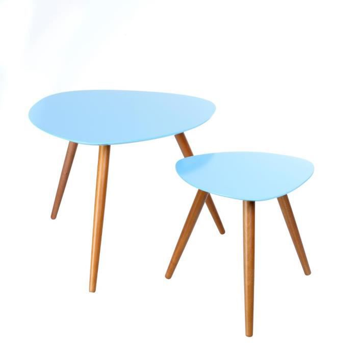Table basse appoint x2 bleu scandinave achat vente - Table basse bleu ...