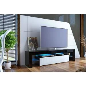 Meuble Tv Design Noir Laque Et Blanc Oui Noi Achat